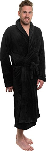 Ross Michaels Mens Plush Shawl Collar Kimono Bathrobe Robe (Black, -