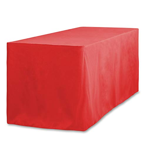 LinenTablecloth 8 ft. Fitted Polyester Tablecloth Red