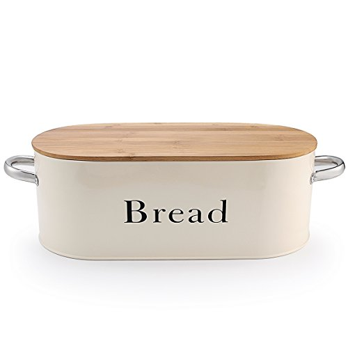 SveBake Bread Box for Kitchen Counter Vintage & Retro Metal Bread Bin with Bamboo Lid and Handle, Cream (Included a Free PDF Baking (Painted Bread Box)