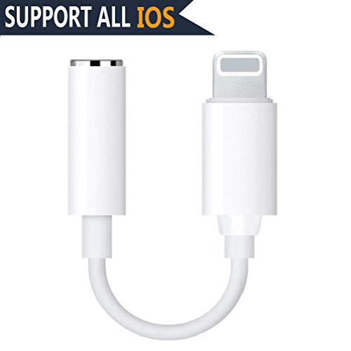 Headphone for iPhone X Adaptor Connector AUX 3.5mm Earphone Adaptor for iPhone X/XS/XR/8/8 Plus Converter Accessories Headphone Cable Splitter Audio Jack Headphone Cable Earbud Adapter Support iOS 12