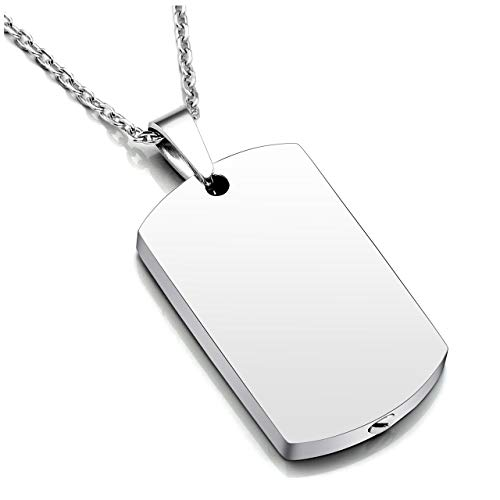 (Zysta Stainless Steel Military Dog Tag Cremation Ashes Urn Holder Container Memorial Keepsake Pendant Necklace with 24 inches Chain)