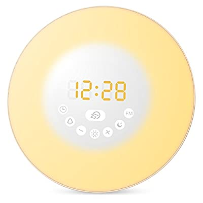 Amir Wake-Up Light, Upgraded Sunrise Simulation Alarm Clock with Sunset & Snooze Function, 6 Colors Atmosphere Lamp, 10 Brightness of Warm White Bedside Lamp with 6 Natural Sounds & FM Radio