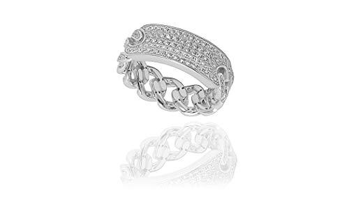 NYC Sterling Women Cubic Zirconia Cuban Bar Link Ring (7) ()