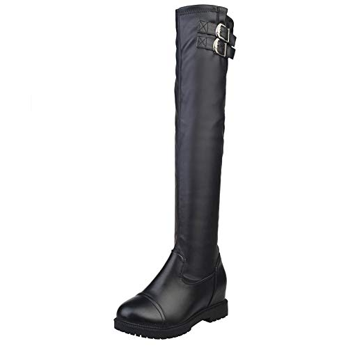 Women Leather Winter Boot,Mosunx Lady Fashional Knee High Boots Buckle Stretch Women's Booties (7B(M) US, Black) by Mosunx Women Shoes
