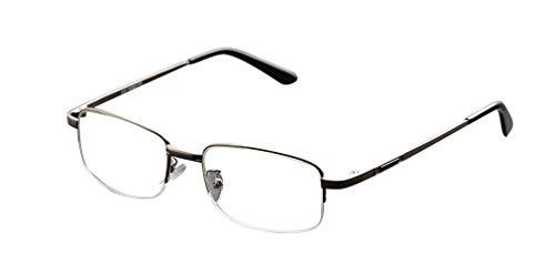 De Ding Metal Half Rim Bifocal Reading Glasses (silver, 2 x)