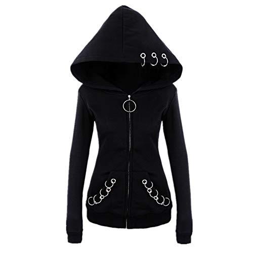 Witchcraft Punk Gothic Zip-up Hoodie | O-Ring Eyelt Long Sleeve Coat Jacket Sweatshirt Women (L)