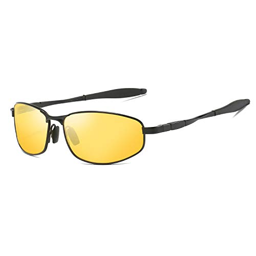 Yellow Tinted Polarized Sunglasses Low Light Overcast Fishing Driving Increase Contrast UV400 Protection - Light Shade Glass Yellow