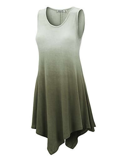 (WT1053 Womens Round Neck Ombre Sleeveless Tunic Tank Top L OLIVE)