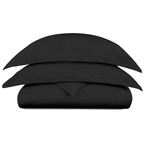 Cosy House Collection Luxury Bamboo Duvet Cover Set 3-Piece - Ultra Soft Hypoallergenic Bedding - Zippered Comforter Protector, Includes 2 Pillow Shams - King/Cal King - Black