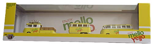 M2 Machines 1960 VW Double Cab Truck and 1960 VW Microbus Deluxe (U.S.A Model), Yellow [Enjoy Mello Yello]