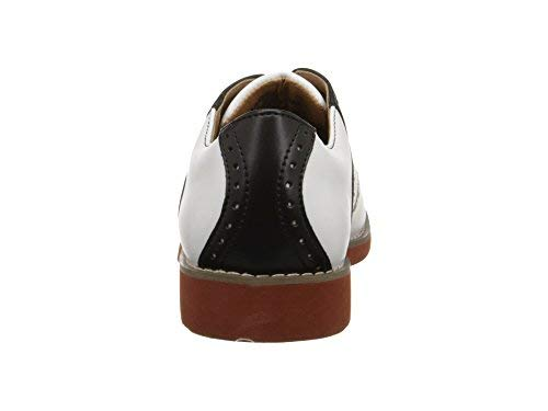 School Issue Upper Class Oxford (Adult),White/Black Leather,8 W US Women's