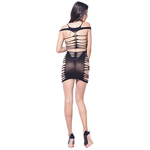 0997eb7360 XMEILO Women s Fishnet Lingerie Seamless Hollow Out Chemise Badydoll Mini  Dress Bodysuit Plus Size