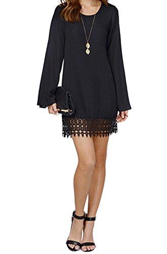 Damen lose Bluse festes Chiffon langen Ärmeln Spitze Kleider (Asian S length 83cm Bust 88cm Shoulder 35cm, Schwarz)
