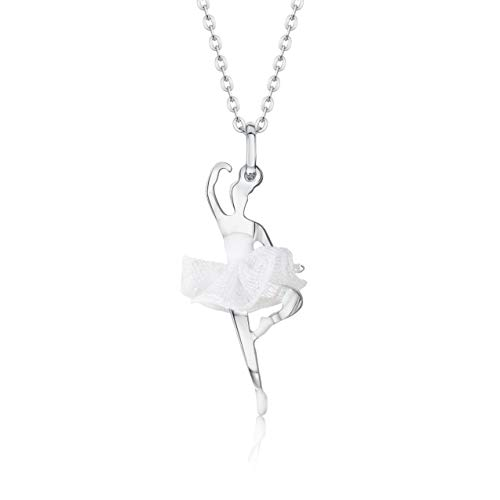UNICORNJ Childrens Teens Sterling Silver 925 Ballerina Ballet Dancer Passe Pendant Necklace with White Tulle Tutu and Enamel 16