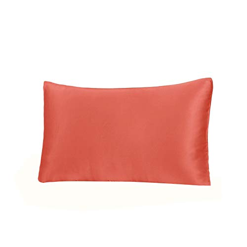 THXSILK 19 Momme Mulberry Silk Pillowcase for Hair and Skin-Pure Natural Silk on Both Sides, Envelope Closure, Hypoallergenic- Great for Child and Travel 12'' x 16'', Coral by THXSILK