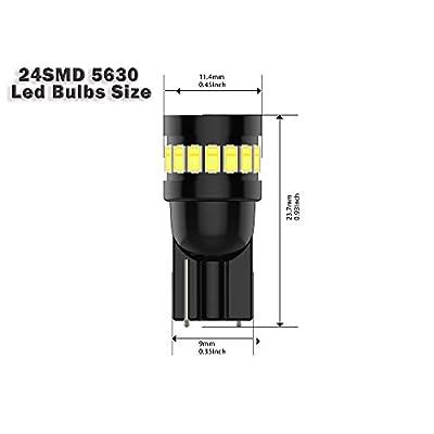 T10 194 Led Bulb 168 2825 Led Bulb 24SMD 3014 ChipsetsLed Car Light Bulbs,194 led bulb Super Bright 6000K White Interior Bulbs for Map Lights Reading Lights License Plate Lights (Pack of 6): Automotive