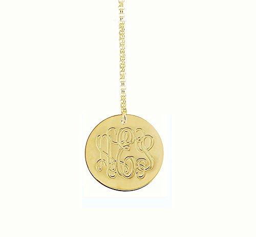 d Gold Vermeil Engraved Disc Monogram Necklace ()