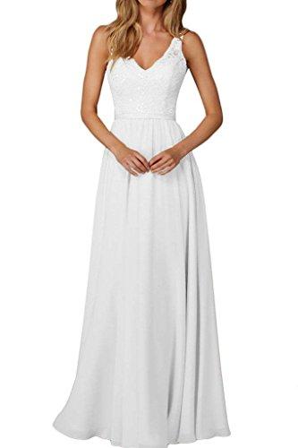 Damen Kleider Lang Spitze Brautjungfernkleider Weiß Chiffon Champagner Abendkleider Charmant Partykleider d6wBq6x8