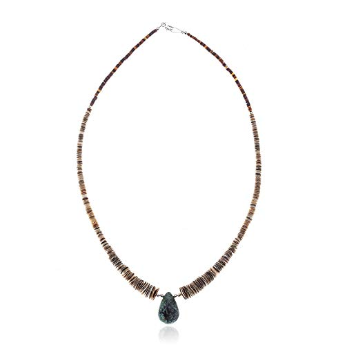 ($300Tag Turquoise Graduated Spiny Silver Certified Navajo Necklace 390982395404 Made by Loma Siiva)