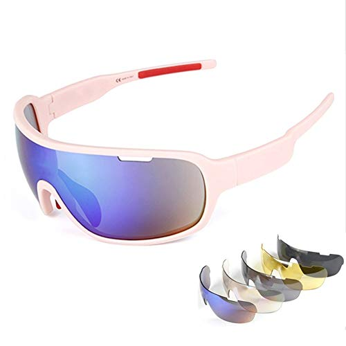 Lorsoul Polarized Sports Sunglasses With 5 Interchangeable Lenes for Men Cycling (Pink#1)