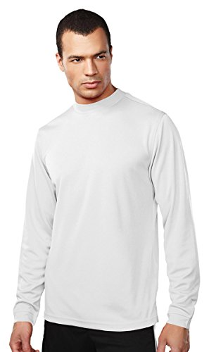 Tri-Mountain Performance 626 Mens 100% Polyester LS Knit Mock Neck Shirt; w/ Self Cuff - White - - Ls Knit Pullover