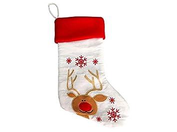 Calcetines de Navidad Bordado de Arpillera Bolsa de Regalo de Bolsa de Dulces Colgante de Decoración de Árbol de Navidad (Alce) Idea para la Fiesta de ...