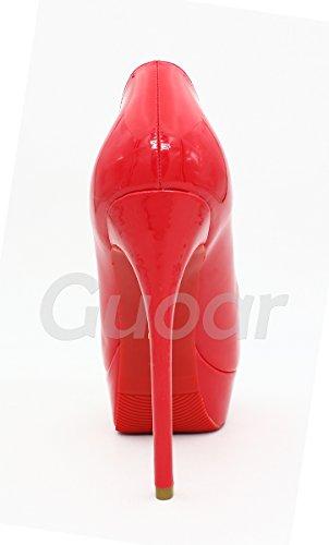 Guoar - Scarpe peep toe Donna, Rosso (rosso), 39/25.7cm