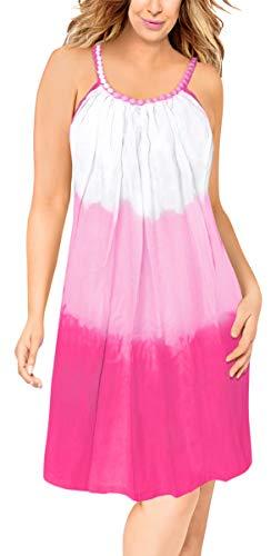 (LA LEELA Rayon Tie Dye Womens Beach Wear Dresses OSFM 14-18 [L-2X] Pink_3318)