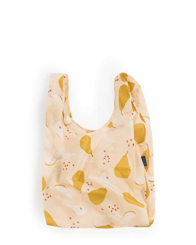 BAGGU Standard Reusable Shopping Bag, Eco-friendly Ripstop Nylon Foldable Grocery Tote, Pear
