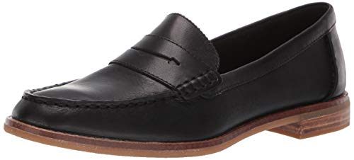 SPERRY Women's Seaport Penny Nubuck Loafer, Black, 5.5 Black Leather Penny Strap Loafers