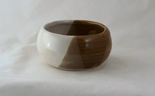 Pottery Light Brown and White Shaving Soap Bowl- Handmade in the USA, Beautiful Gift!