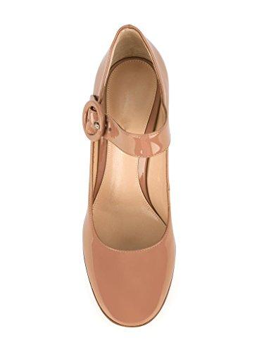 elashe Women High Heels Pumps | Ankle Buckle Block Heel Court Pumps |10cm Elegante Party Pumps Beige 1p2wdTAPe