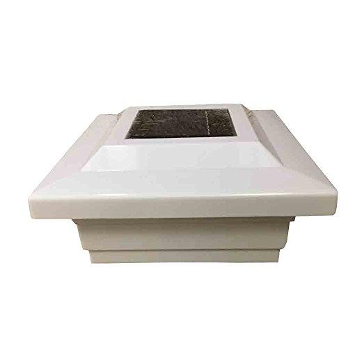 Solar Post Cap 5x5 PVC/Vinyl Low Profile 4 SMD LED Off White Solar Light (White)
