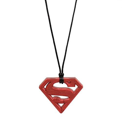 Bumkins Silicone Baby Teething Pendant Necklace for Mom, DC Comics, Superman Ruby