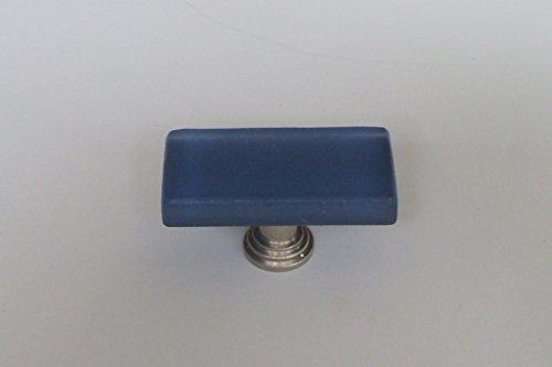 "Vine Designs VD-VCFK-Blue-SN Frosted Glass Knob with Satin Nickel Base, 1"" x 2"""