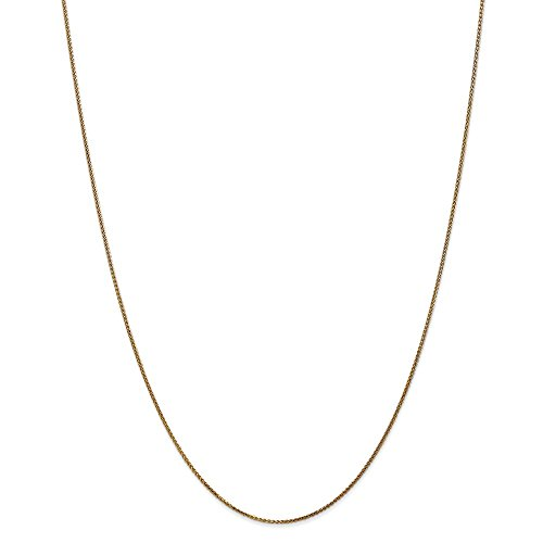 (14k Yellow Gold 1mm Solid Spiga Chain Necklace 30 Inch Pendant Charm Wheat Fine Jewelry Gifts For Women For Her)