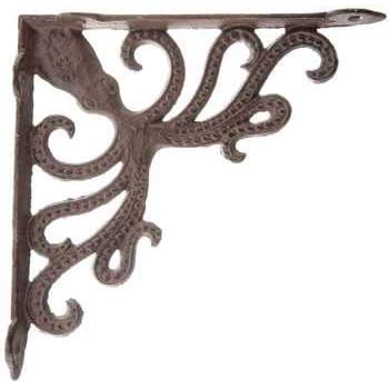 SET 4 BROWN ANTIQUE-STYLE 9.5 SHELF BRACKETS CAST IRON rustic garden LEAF SWIRL Architectural & Garden Hardware