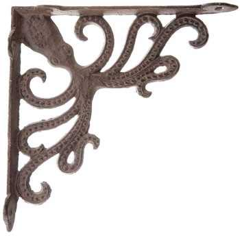 Aunt Chris' Products - Heavy Cast Iron - All-Purpose - Octopus Shelf Bracket - Bronze Rustic Color Finish - Nautical Design - Indoor or Outdoor Use