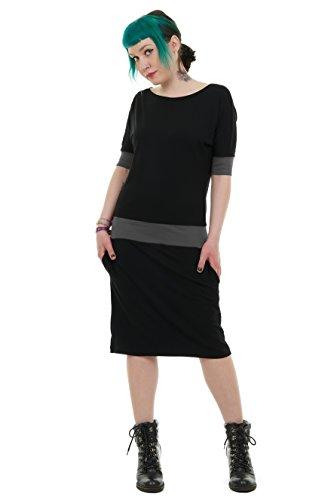 Berlino Grigio prodotta a Nero donna prendisole de 3Elfen Vestito pipistrello cWqByHS