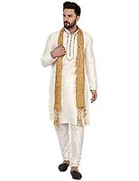 SKAVIJ Men's Tunic Ethnic Wear Kurta Pajama and Scarf Wedding Party Dress Set