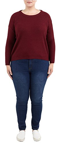 Click Selfie New Womens Plus Size Boxy Scoop Neck Long Sleeve Pullover Knit Sweater Jumper Berry-Wine 20 (Boxy 20 Pullover)