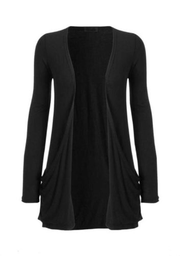 Hot Hanger Ladies Plus Size Pocket Long Sleeve Cardigan 16-26 : Color – Black : Size – 16-18 LXL