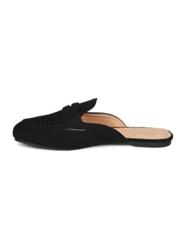 Alrisco Women Faux Suede Slip On Flat Loafer Mule HG74 - Black Faux Suede (Size: 8.5) by Alrisco (Image #3)