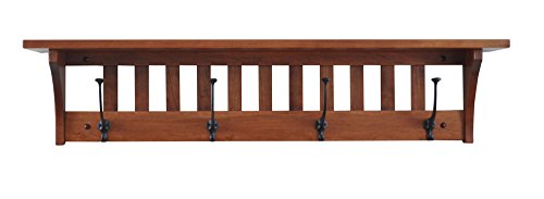 Wood Coat Rack Shelf Wall Mounted, Mission, 4 Hook, Cherry Wood, Washington Cherry Stain Cherry Stain Oak