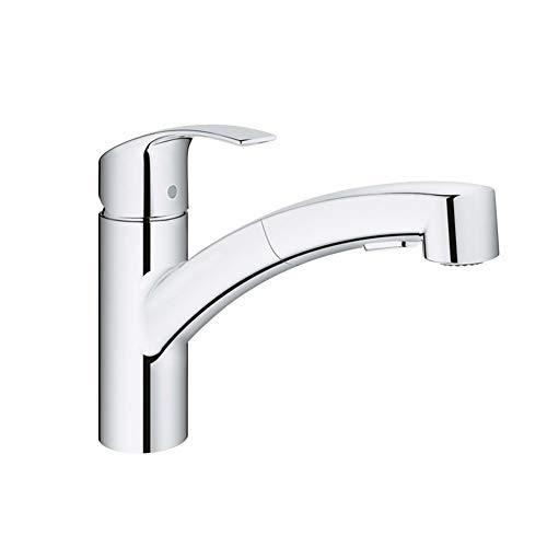 Kitchen Taps Sink Mixer Faucet Pull Out Spray Kitchen Mixer Taps 360 Degree Swivel Spout Sink Faucet Hoses Single Lever Chrome Modern Commercial Faucet ()