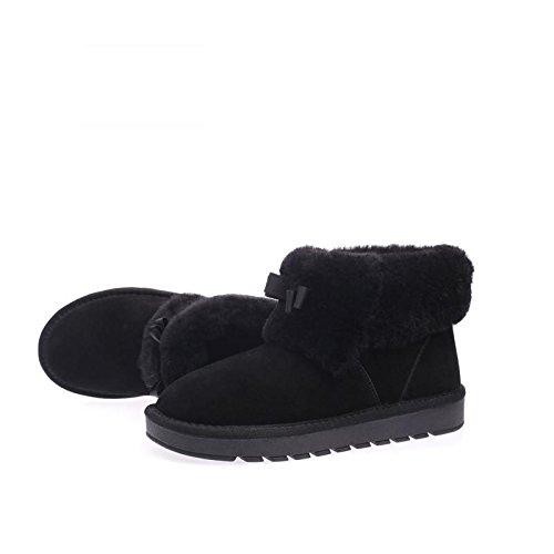 Moda Skid 120w Nsxz Black Stivali Pelle Invernali Caldi Neve Lana Scarponi Donne Da Di Le qv1REwvC