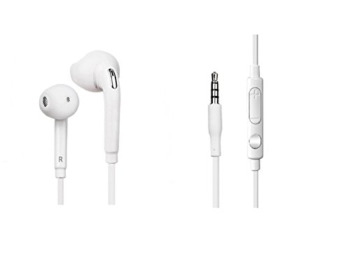Premium Earphones with Mic Stereo, headphone for Samsung and iPhone, iPod, iPad, Android Smartphone, Tablets, MP3 Players - Classic-White