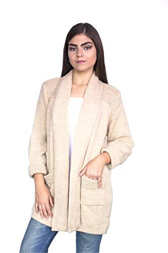 Raymis Peruvian Women´s Hand Knit Alpaca California Cardigan Sweater (Beige)