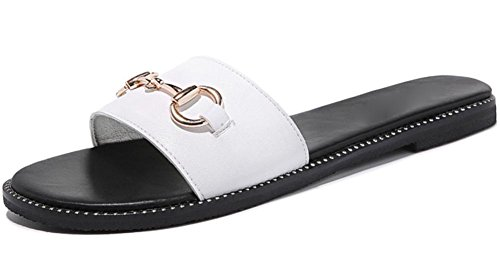 Frau im Freien Strand Sandalen mit flachen Schuhen Sommer weiblichen Pantoffeln Wort white