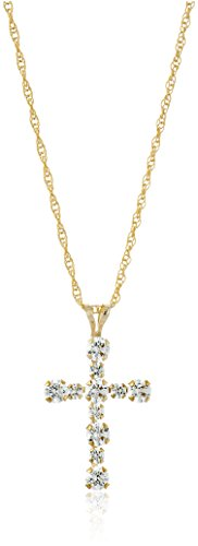- 10K Yellow Gold Cross Pendant Necklace set with Swarovski Zirconia (.5 cttw), 18